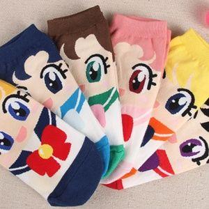 Set of 6! Sailor Moon Yellow Short Ankle Socks